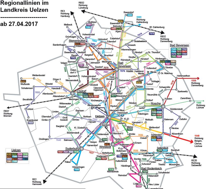 Liniennetz im Landkreis Uelzen ab 27.04.2017