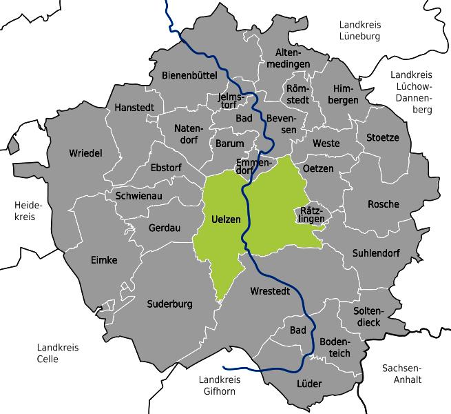 Karte BE - Stadtgebiet Uelzen